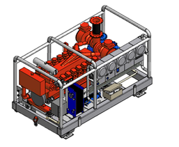 Pump unit in structural frame